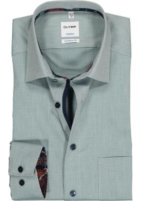 OLYMP Tendenz Modern Fit overhemd, groen structuur (contrast)