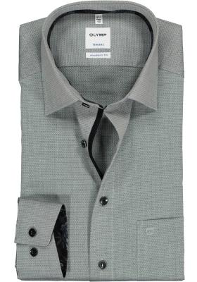 OLYMP Tendenz Modern Fit overhemd, antraciet grijs structuur (contrast)