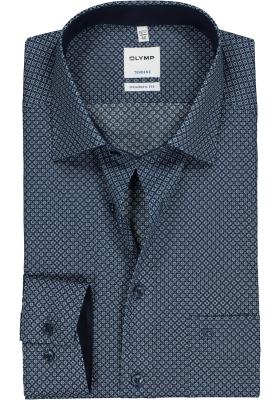 OLYMP Tendenz Modern Fit overhemd, blauw dessin (contrast)
