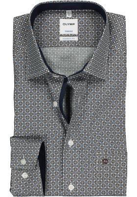 OLYMP Tendenz Modern Fit overhemd, bruin, wit en lichtblauw dessin