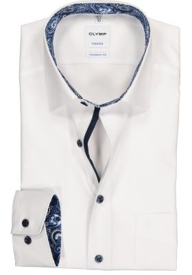 OLYMP Tendenz Modern Fit overhemd, wit  (blauw contrast)