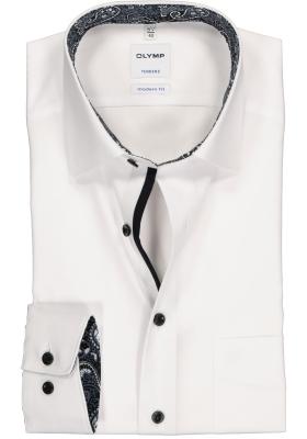 OLYMP Tendenz modern fit overhemd, wit (zwart-grijs contrast)