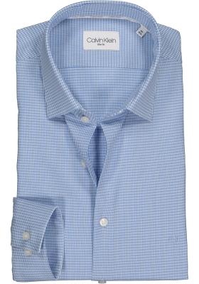 Calvin Klein overhemd Fitted, lichtblauw houndstooth