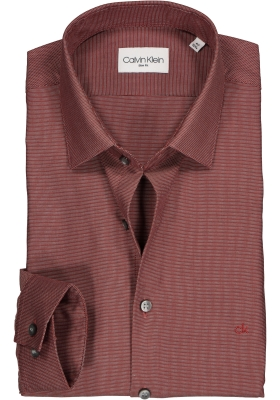 Calvin Klein overhemd Fitted, bordeaux rood structuur