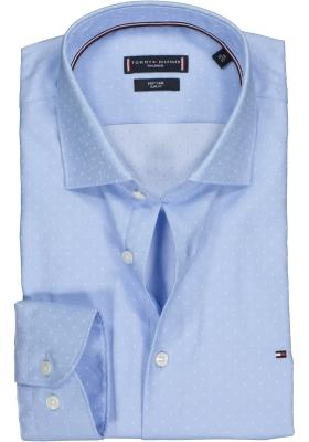 Tommy Hilfiger overhemd Slim Fit, lichtblauw met wit structuur