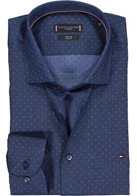 Tommy Hilfiger overhemd Slim Fit, donker- en lichtblauw structuur