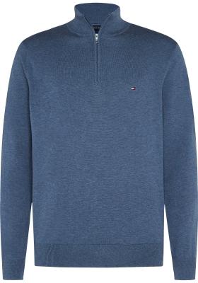 Tommy Hilfiger trui met rits (katoen/kasjmier/zijde), jeansblauw melange