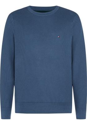 Tommy Hilfiger O-hals trui honingraat (katoen), jeansblauw
