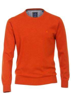 Redmond heren trui katoen O-hals, warm oranje melange