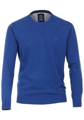 Redmond heren trui katoen O-hals, kobaltblauw melange