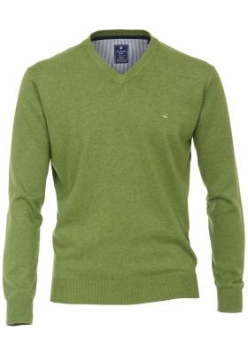 Redmond heren trui katoen V-hals, groen melange
