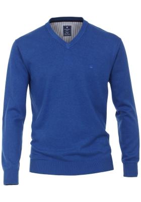 Redmond heren trui katoen V-hals, kobaltblauw melange