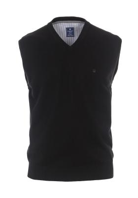 Redmond heren trui katoen V-hals, zwart melange