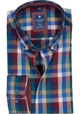 Redmond heren overhemd Regular Fit, rood met wit en blauw geruit (contrast)