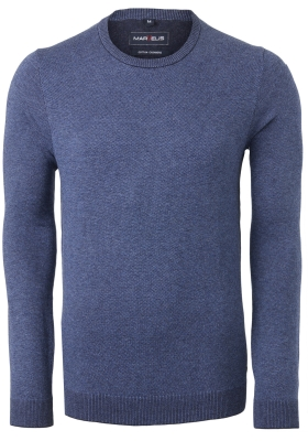 MARVELIS O-hals trui (katoen/kasjmier), jeansblauw melange
