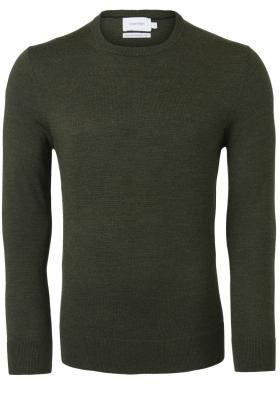 Calvin Klein O-hals trui (wol), donker olijfgroen