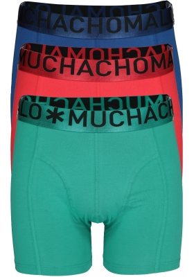 Muchachomalo boxershorts 3-pack, Solid petrol, rood en blauw