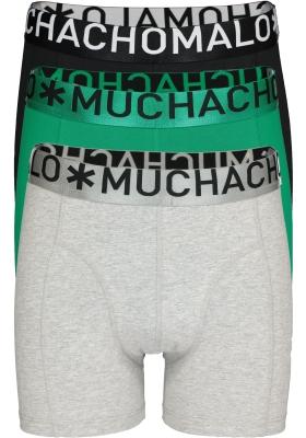 Muchachomalo boxershorts 3-pack, Solid zwart, groen en grijs melange