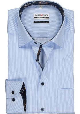 MARVELIS Comfort Fit overhemd, lichtblauw gestreept (contrast)