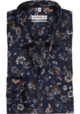 MARVELIS Comfort Fit overhemd, marine blauw dessin