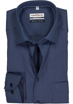 MARVELIS Comfort Fit overhemd, marine blauw mini dessin (contrast)
