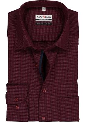 MARVELIS Comfort Fit overhemd, bordeaux rood mini dessin (contrast)