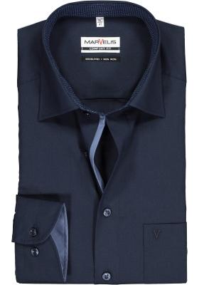 MARVELIS Comfort Fit overhemd, donkerblauw  (contrast)