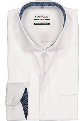 MARVELIS Comfort Fit overhemd, wit herringbone (contrast)