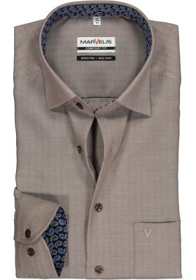 MARVELIS Comfort Fit overhemd, bruin herringbone (contrast)