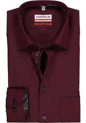 MARVELIS Modern Fit overhemd, donkerrood  (contrast)