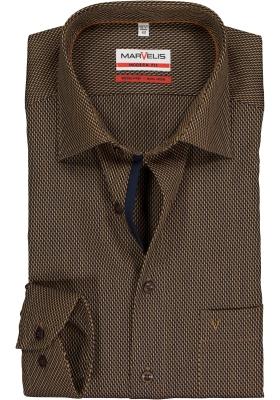 MARVELIS Modern Fit overhemd mouwlengte 7, okergeel mini dessin (contrast)