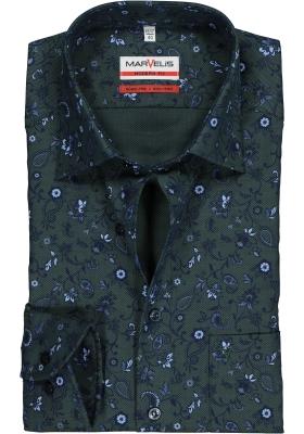 MARVELIS Modern Fit overhemd mouwlengte 7, groen dessin