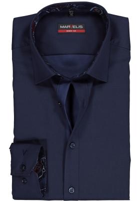 MARVELIS Body Fit overhemd, donkerblauw satijnbinding (contrast)