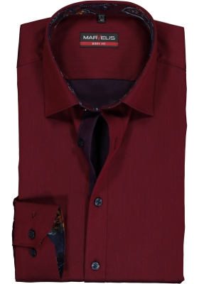 MARVELIS Body Fit overhemd, bordeaux rood satijnbinding (contrast)