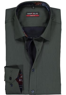 MARVELIS Body Fit overhemd, groen satijnbinding (contrast)