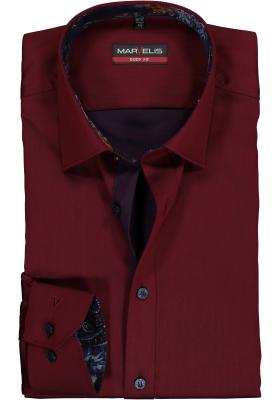 MARVELIS Body Fit overhemd mouwlengte 7, bordeaux rood satijnbinding (contrast)