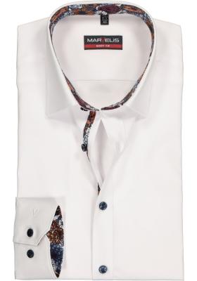 MARVELIS Body Fit overhemd mouwlengte 7, wit  (contrast)