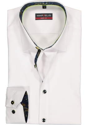 MARVELIS Body Fit overhemd, wit  (contrast)