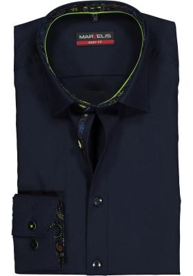 MARVELIS Body Fit overhemd, donkerblauw  (contrast)