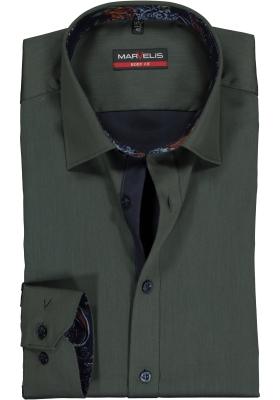 MARVELIS Body Fit overhemd mouwlengte 7, groen satijnbinding (contrast)