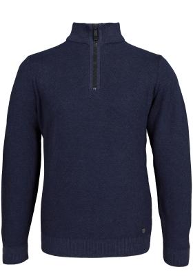 Casa Moda heren trui katoen, blauw melange, honingraat structuur met rits