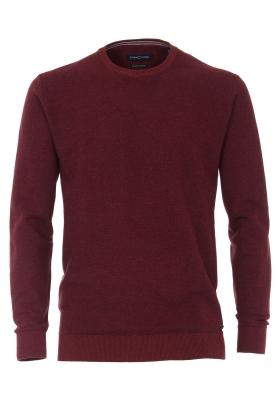 Casa Moda heren trui katoen, O-hals, bordeaux rood honingraat structuur