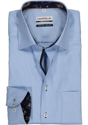 MARVELIS Comfort Fit overhemd, lichtblauw structuur (contrast)