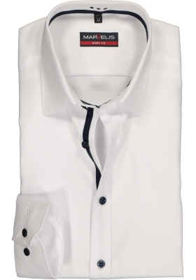 MARVELIS body fit overhemd, wit twill (contrast)