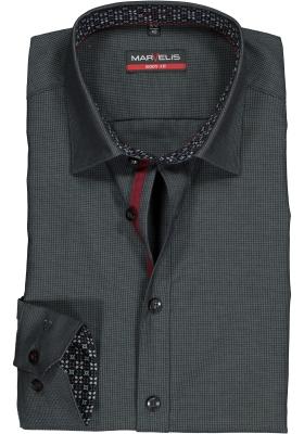 MARVELIS Body Fit overhemd, zwart met grijs structuur (contrast)
