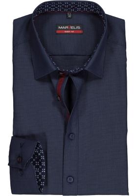 MARVELIS Body Fit overhemd mouwlengte 7, donkerblauw structuur (contrast)