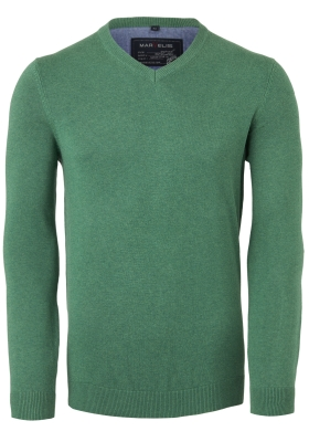 MARVELIS V-hals trui (katoen), groen melange