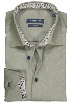 Ledub Modern Fit overhemd, middengroen structuur (contrast)