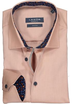 Ledub Modern Fit overhemd, warm oranje structuur (contrast)