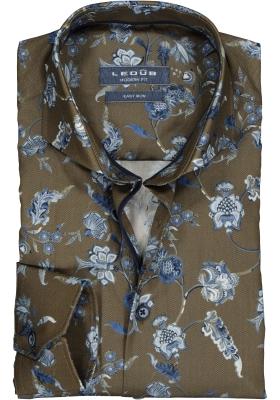 Ledub Modern Fit overhemd, lichtgroen met blauw dessin (contrast)